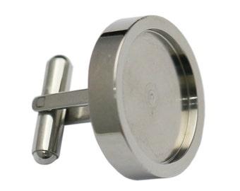 Stainless Steel Cufflink Findings 19.5mm Round Cabochon Setting Handmade Accessories Mens cufflinks Bezel Setting ID 35771