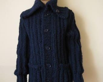 New Hand Knitted alpaca wool  Extra Thick Sweater Cardigan  size S M L  XL DARK BLUE