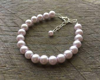 Purple Pearl Bracelet Lavender Bridal Bracelet One Single Strand Simple Pearl Bracelet on Silver or Gold Chain