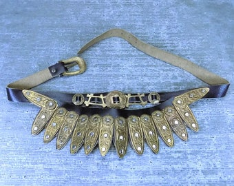 Vtg 70s leather brass belt