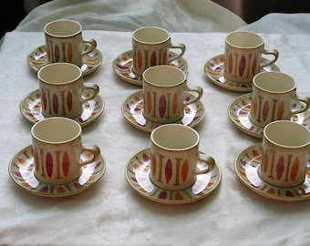 Mid-Century Vintage 1960s PEPE Red Wing Groovy!  Nine Coffee Mugs + Saucers!   Part of a Larger Collection!  Designed by Charles Murphy!