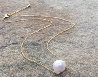 White Baroque Pearl necklace- one pearl necklace- large baroque 14k gold fill pearl necklace