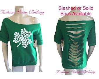 St Patrick's Day Three Leaf Clover Green Slashed or Solid Back Off the Shoulder Short Sleeve Sweatshirt XS S M L XL Plus Size 1x 2x 3x 4x 5x