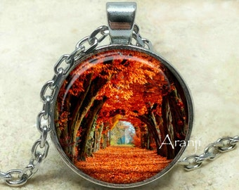 Autumn pendant, autumn necklace, autumn jewelry, fall pendant, fall necklace, fall leaves pendant, fall, autumn, Pendant #SP119P