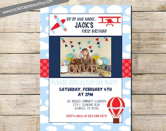 Photo One Year Airplane Birthday Party Invitations- DIY Printable File, Digital _1286