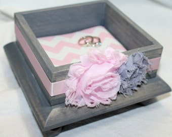 Business Card Holder, Jewelry Box, Pink and Gray, Small Wooden Box, Ring Box, Pink Chevron, Light Pink, Gray Jewelry Box, Custom color