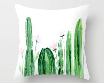 Floral Cactus Throw Pillow Cover, cactus throw pillow, cactus pillow cover, cactus flower pillow, floral cactus pillow, floral throw pillow