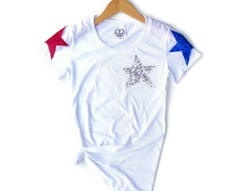 July 4th Shirt. Stars and Stripes. Sequin 4th of July Shirt. America Tee. USA Tank Top. 4th of July Tank. Red White Blue. Star Tee T Shirt