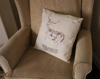 Beige Embroidered Stag Cushion