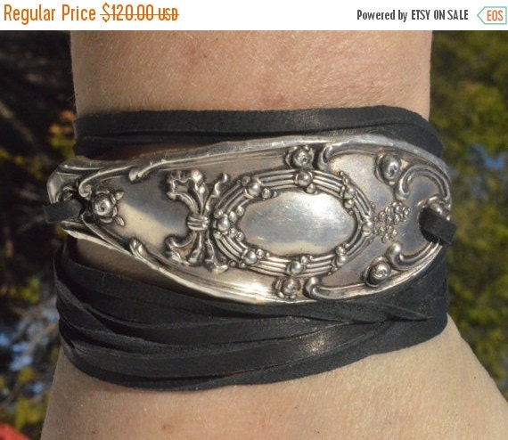 SALE 40% OFF Tiffany Solid Sterling Silver 925 Leather Tie Wrap Cuff Bracelet Repoussé Repurposed Antique Art Nouveau Spoon Cuff Yoga .925 A