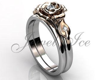 Engagement Ring Set - 14k White and Rose Gold Diamond Unique Flower Wedding Band Engagement Ring Set Bridal Set ER-1127-5
