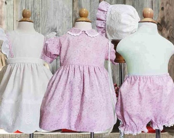 Pinafore, Dress, Bonnet, Vintage, Heirloom Style, Baby, Toddler, 12 Months, 24 Months, 36 Months