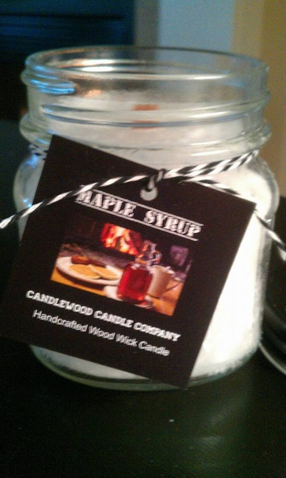 MAPLE SYRUP - New Fire & Ice Maple Syrup Wood Wick Candle 9.6 oz