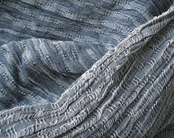 Gray Wrinkled Cotton Gauze Fabric by Yard