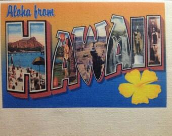 Hawaii Kitchen Towel With Vintage State Postcard Design