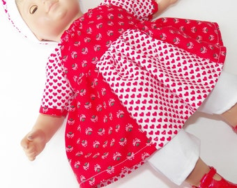 """bitty baby clothes, doll girl, or 15"""" twin, heart, valentines day, peasant dress, hat cap, capris, white red, handmade adorabledolldesigns,"""