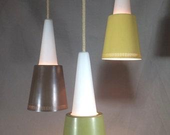 Rare 1950's Fog & Mørup Denmark Hanging Pendant Light 3 Shades