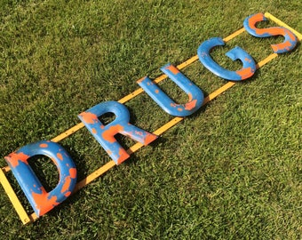 Vintage DRUGS Sign Porcelain Letters