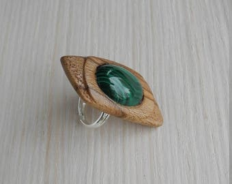 Wooden ring, wood ring, inlaid ring, resizeable ring, men wood ring, women wood ring, unique ring, hand carved ring, malachite ring