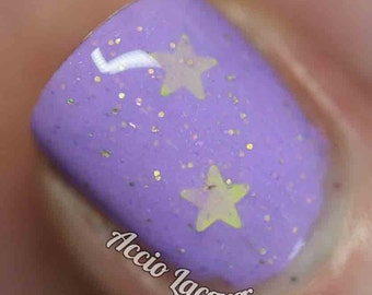 LSP Nail Polish -  bright lavender with gold stars