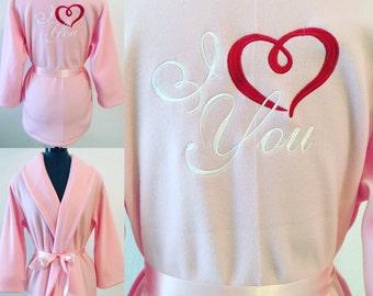 Children's Robe, I Love You Monogrammed Robe, Valentine's Day Gift Monorgammed Robe ,Personalized Robe, Light Pink Robe, Fleece Robe