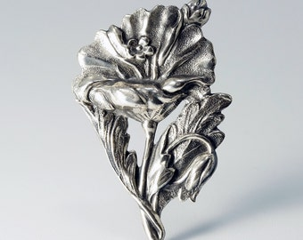 Art Nouveau Brooch, Art Nouveau Pin, Art Nouveau Flower, Repousse Silver, Vintage Art Nouveau Style Sterling Silver Repousse Flower Pin