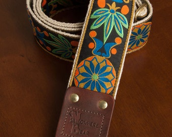 Orange/Green/Blue Floral VIntage-styled Guitar Strap