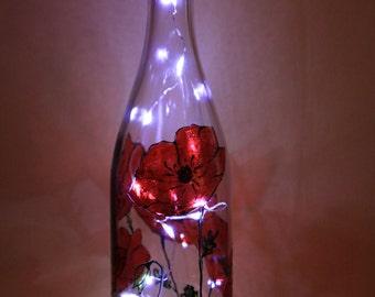 Poppy fields bottle light/lamp