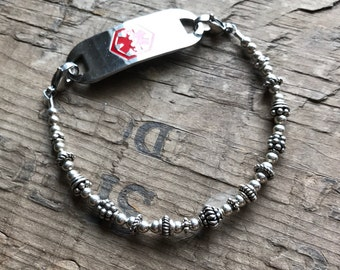 Sterling Silver Medical Bracelet - Includes FREE Medical ID tag with Engraving