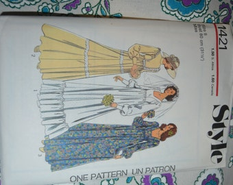 Vintage Style 1421 Misses Wedding or Bridesmaids Dress Sewing Pattern - UNCUT - Size 8 or Size 16