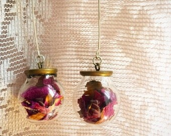 Rose Hips in Glass on Sterling Silver Handcrafted Earwires