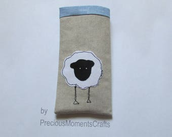 Lined glasses case with lovely sheep applique and free motion sewing