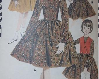 Vintage Butterick 2409 Sewing Pattern Size 8 Girls Dress Coordinates