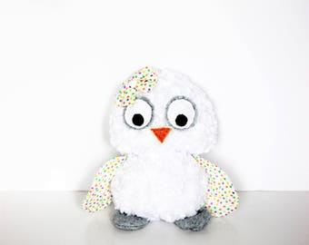 White Owl Plush Rosette Toy With Polka Dots