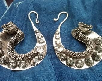 Huge Dragon Guage Earrings Miao Hmong ethnic tribal jewelry