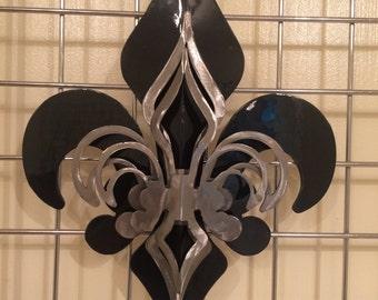 3- Part Black & Polished Fleur De Lis