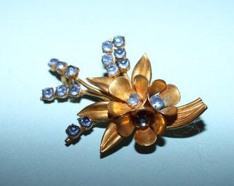 Delightful Post War Czechoslovakian Blue Rhinestone Bouquet of Flowers Brooch