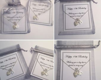 Age Necklace Pendant 13th, 16th, 18th, 21st, 30th, 40th, 50th, Birthday Gift with Rhinestone Heart with a 45ch chain