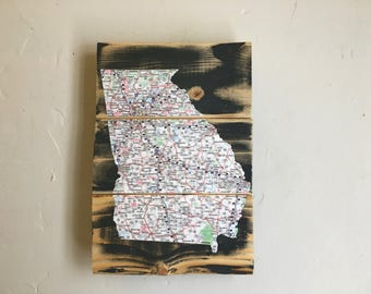 Georgia Map Decoupaged Onto Lumber, Recycle Art, Map Art, Georgia Art, Georgia Map Decoupage Art, Neutral Gray Georgia Wall Art, State Pride