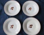 "Set of 4 Alfred Meakin Ironstone Copper Tea Leaf Rim Soup Bowls, 8-7/8"", c. 1897–1913"