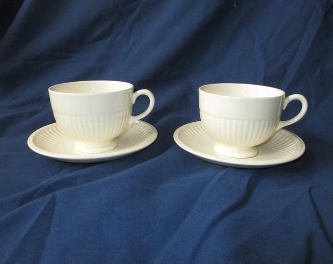 "Set of 2 Vintage Wedgwood ""EDME"" Off-White 2.75"" Cups & 5.75"" Saucers  (c. 1970s)"