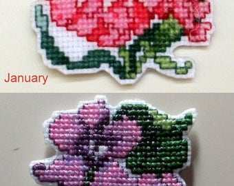 Cross Stitch Monthly Flowers Charts #1