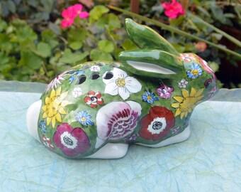 Paris Rabbit Figurine - Hand Painted, Floral Decor, Pottery - Vintage - Gorgeous!