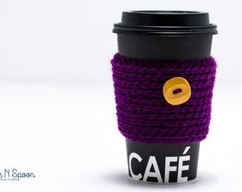 Purple crochet cup cozy, mug cozy, coffee cozy, coffee gift, office gift