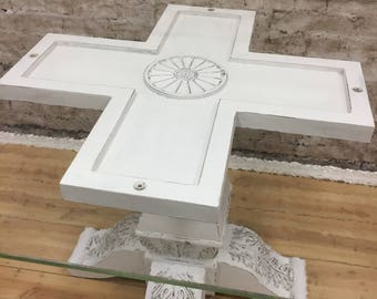 Shabby Chic White Painted Pedestal Kitchen Dining Table with Tempered Glass
