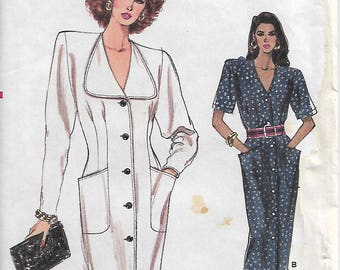 Vintage Very Easy Very Vogue 7116 Size 6-8-10 Bust 30 1/2-32 1/2 Misses'/Misses' Petite Dress Sewing Pattern 1988 Uncut