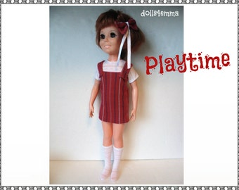 Vintage Ideal CRISSY Doll CLOTHES - Top, Jumper/Overalls Dress, Socks and Hair-Bow - Handmade Custom Fashion - by dolls4emma