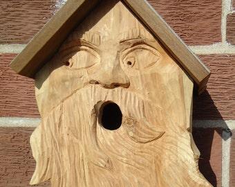 Carved wood spirit - Cedar wood birdhouse - Outdoor birdhouse - Carved wood birdhouse - Wood spirit - Garden artwork - Wood Garden sculpture