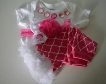 Pink Infant Onesie, Legwarmers and Headband Set