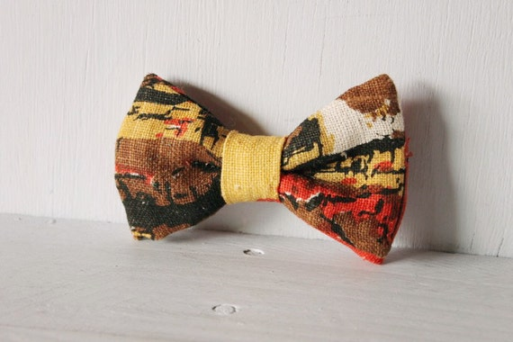 Dog bow tie >> Outback earth texture bow with elastic >> Pet gift
